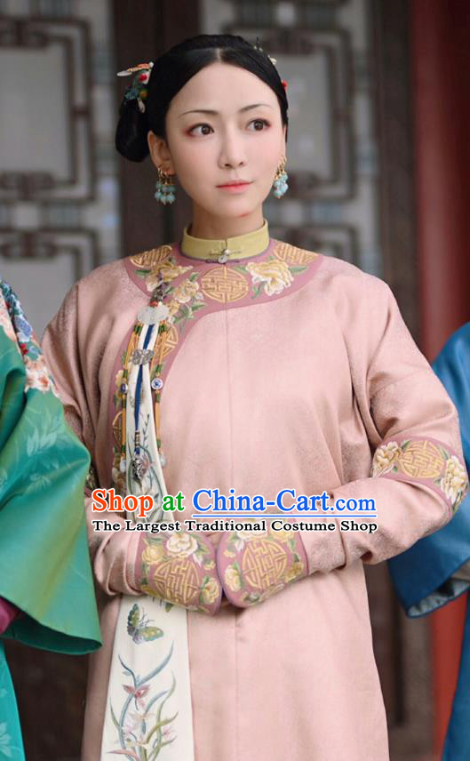 Chinese Ancient Palace Lady Garment Court Manchu Qipao Dress and Headpieces Drama Dreaming Back to the Qing Dynasty Ming Hui Apparels Costumes