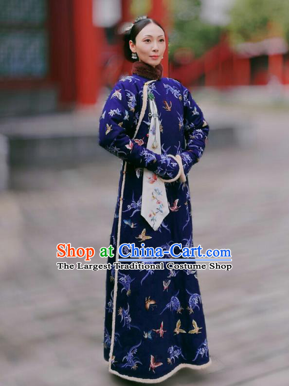 Chinese Ancient Royal Dame Garment Court Manchu Blue Qipao Dress and Headpieces Drama Dreaming Back to the Qing Dynasty Fourth Rani Apparels Costumes