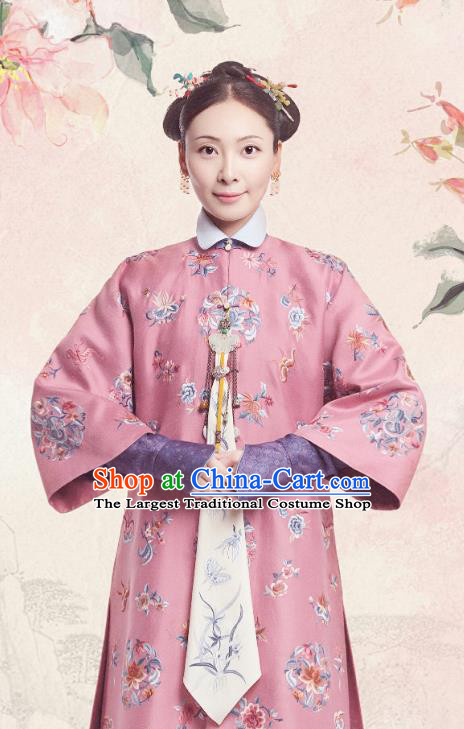 Chinese Ancient Royal Dame Garment Court Manchu Pink Qipao Dress and Headpieces Drama Dreaming Back to the Qing Dynasty Fourth Princess Consort Apparels Costumes