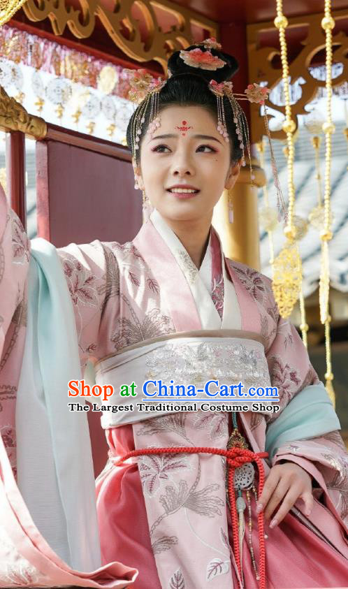 Chinese Ancient Palace Princess Dress Apparels Garment and Hair Accessories Drama To Get Her Royal Lady Cha Ruirui Costumes