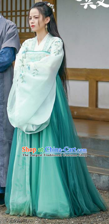 Chinese Ancient Princess Green Dress Apparels Garment and Hair Accessories Drama To Get Her Royal Lady Lin Zhengzheng Costumes