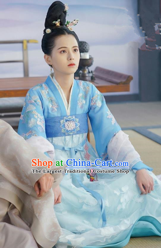 Chinese Ancient Princess Blue Dress Apparels and Hairpins Drama To Get Her Court Lady Lin Zhengzheng Costumes Garment