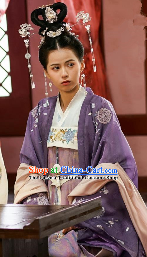 Chinese Ancient Princess Garment Costumes Purple Dress and Hair Jewelries Drama To Get Her Court Lady Lin Zhengzheng Apparels