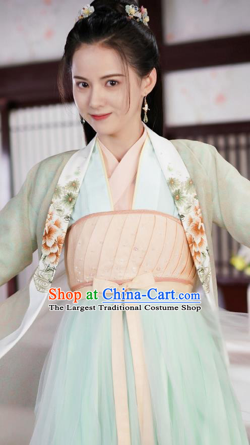 Chinese Ancient Princess Garment Green Dress and Hair Jewelries Drama To Get Her Court Lady Lin Zhengzheng Apparels Costumes