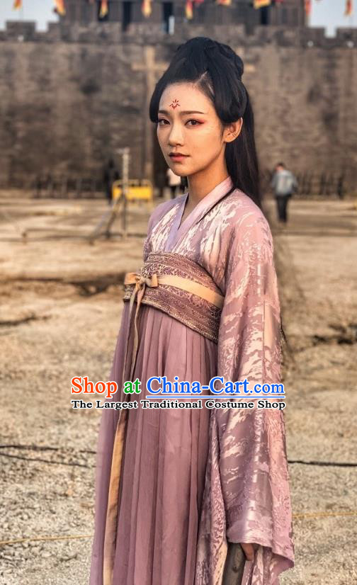 Chinese Ancient Princess Purple Garment Dress and Headdress Drama To Get Her Swordswoman Cha Ruirui Apparels Costumes