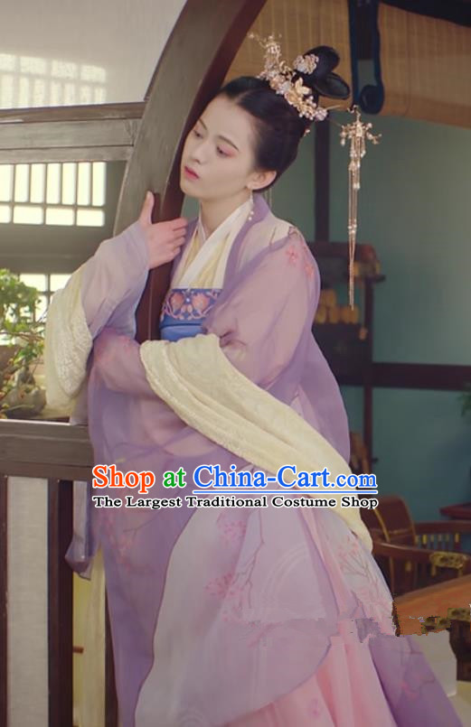 Chinese Ancient Princess Consort Garment Dress and Headdress Drama To Get Her Palace Lady Apparels Lin Zhengzheng Costumes