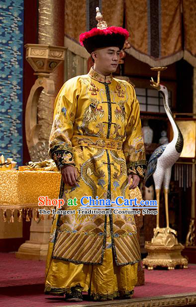 Chinese Ancient Qing Dynasty Emperor Apparels Garment and Hat Wuxia Drama Happy Mitan Shun Zhi Imperial Robe Costumes