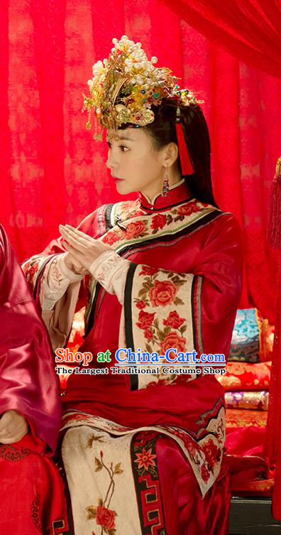 Chinese Ancient Qing Dynasty Wedding Garment Wuxia Drama Happy Mitan Apparels Red Dress and Phoenix Coronet Bride Costumes