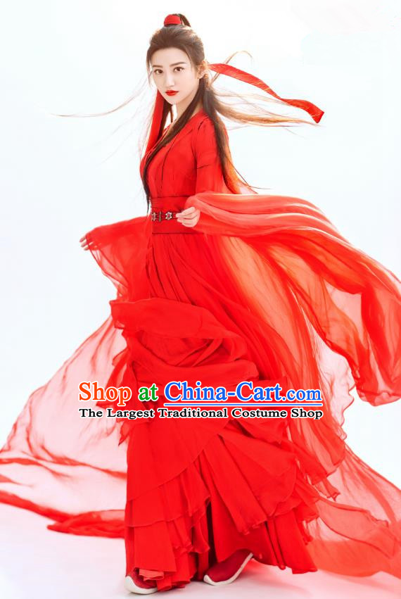 Chinese Ancient Swordswoman Red Garment Wuxia Drama The King of Blaze Apparels Dress and Headwears Qian Mei Costumes