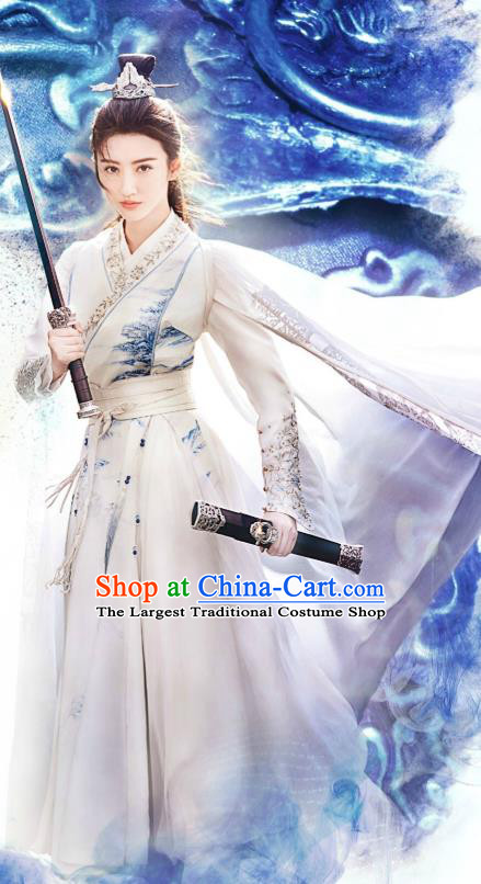 Chinese Wuxia Drama Ancient Swordswoman Garment The King of Blaze Apparels White Dress and Hairdo Crown Situ Fengjian Costumes