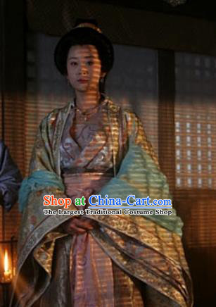 Chinese Ancient Tang Dynasty Apparels Court Empress Hanfu Dress and Headwear Drama Control by Zhen Guan Queen Zhangsun Garment Costumes