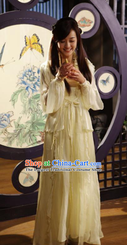 Chinese Ancient Apparels Female Swordsman Yellow Hanfu Dress and Headpieces Drama Butterfly Sword Sun Xiaodie Garment Costumes