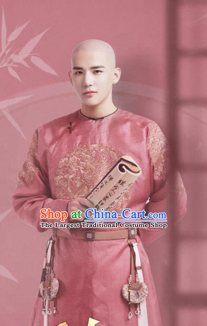 Chinese Ancient Manchu Costumes Thirteen Prince Garment Drama Dreaming Back to the Qing Dynasty Aisin Gioro Yinxiang Pink Gown Apparels