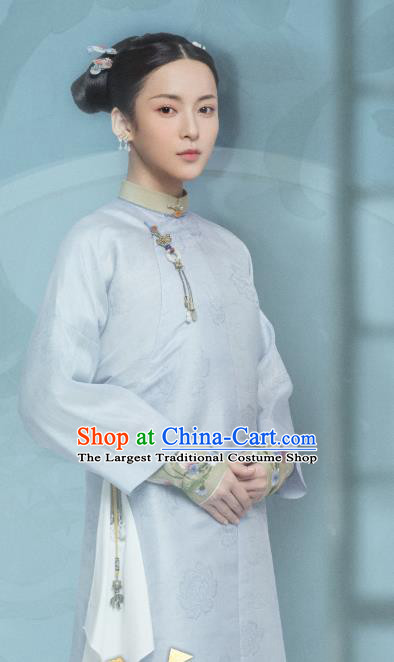 Chinese Ancient Garment Manchu Lady Apparels Blue Qipao Dress and Hair Jewelries Drama Dreaming Back to the Qing Dynasty Ming Hui Costumes