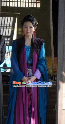 Chinese Ancient Blue Apparels and Headpieces Drama Butterfly Sword Garment Costumes Female Swordsman Gao Jiping Hanfu Dress