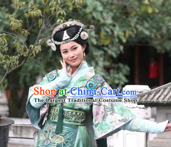 Chinese Ancient Consort Apparels and Headpieces Drama Turbulence of the Mu Clan Costumes Nuo Lan Green Hanfu Dress Garment