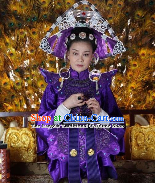 Chinese Ancient Empress Apparels and Headdress Drama Turbulence of the Mu Clan Queen Luo Ningshi Purple Costumes Garment