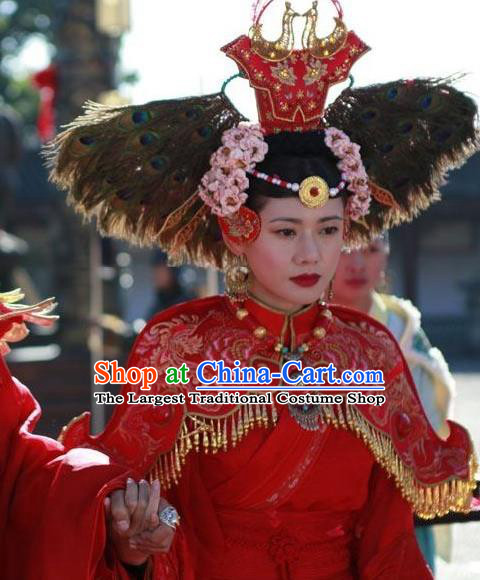 Chinese Ancient Female Castellan Red Apparels and Headdress Drama Turbulence of the Mu Clan A Leqiu Wedding Costumes Garment