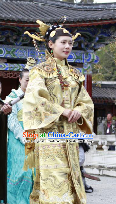 Chinese Ancient Female Castellan Golden Apparels and Headdress Drama Turbulence of the Mu Clan A Leqiu Wedding Costumes Garment