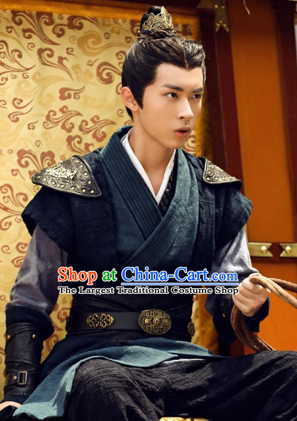 Chinese Ancient Knight Hao Yue Apparels Garment and Hairdo Crown Wuxia Drama The King of Blaze Swordsman Costumes