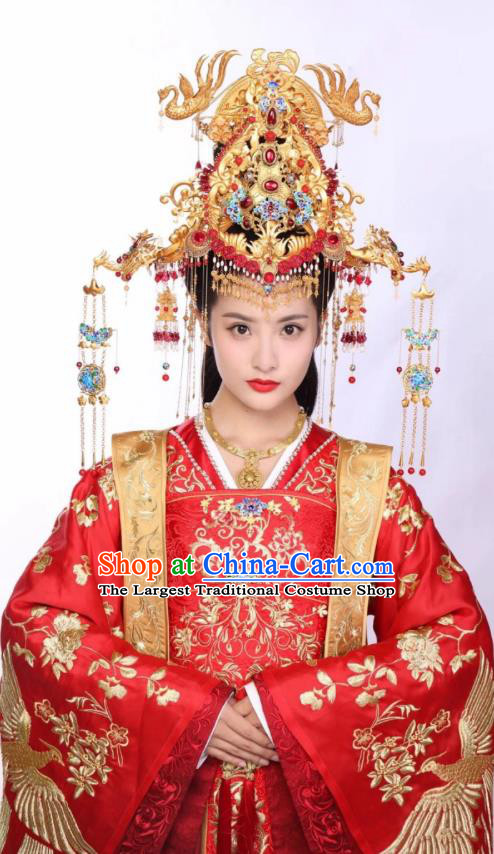 Chinese Ancient Apparels Wedding Garment and Phoenix Coronet Wuxia Drama The King of Blaze Princess Li Ying Red Dress Costumes