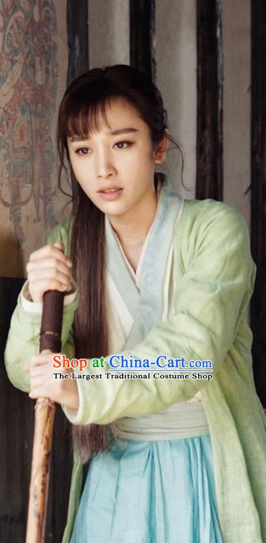 Chinese Ancient Civilian Lady Apparels Garment Costumes and Hair Accessories Wuxia Drama The Lost Swordship Swordswoman Rui Chu Dress