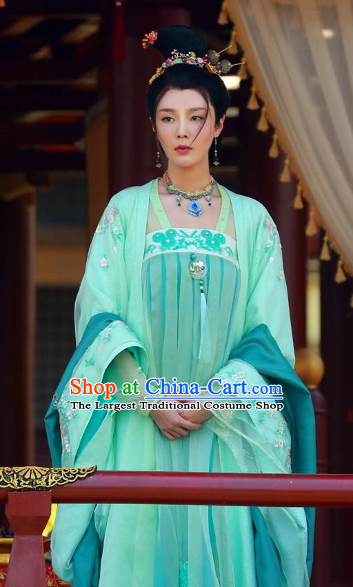 Chinese Wuxia Drama Ancient Princess Apparels Garment and Hair Accessories The King of Blaze Apparels Zhao Ping Green Hanfu Dress Costumes