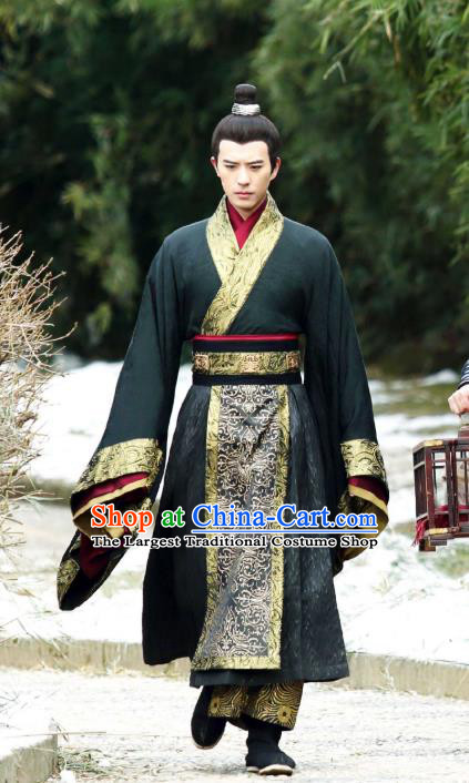 Chinese Ancient Official Black Garment Costumes and Headwear Drama I am A Pet At Dali Temple Swordsman Mo Qingyan Apparels