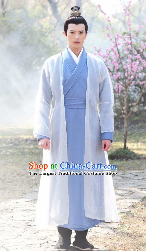 Chinese Ancient Swordsman Blue Garment Costumes and Headpiece Drama I am A Pet At Dali Temple Official Qing Moyan Apparels