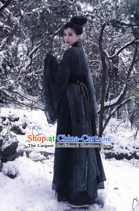 Chinese Ancient Female Swordsman Garment Costumes and Hair Accessories Drama I am A Pet At Dali Temple Chang Hen Black Dress
