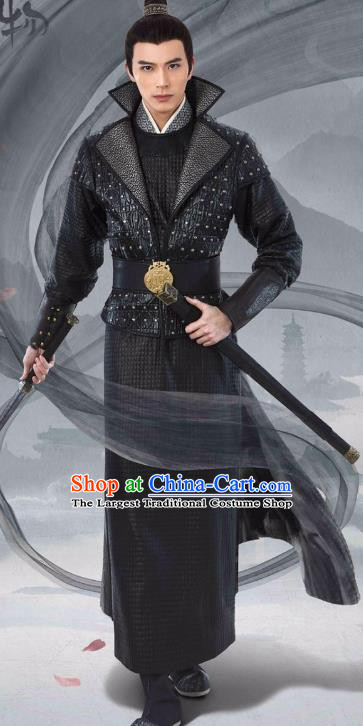 Chinese Ancient Black Garment Costumes and Headpiece Drama I am A Pet At Dali Temple Swordsman Qing Moyan Hanfu Apparels