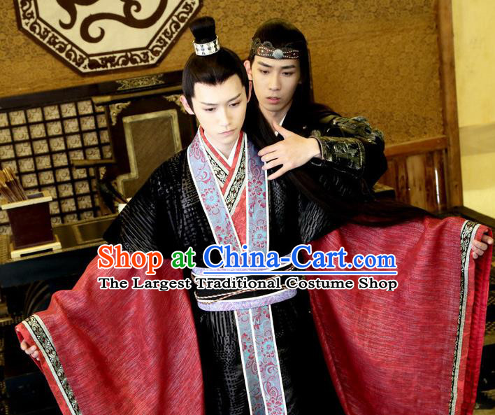 Chinese Ancient Lord Garment Costumes and Hairdo Crown Drama Men With Sword Swordsman Prince Murong Li Hanfu Apparels