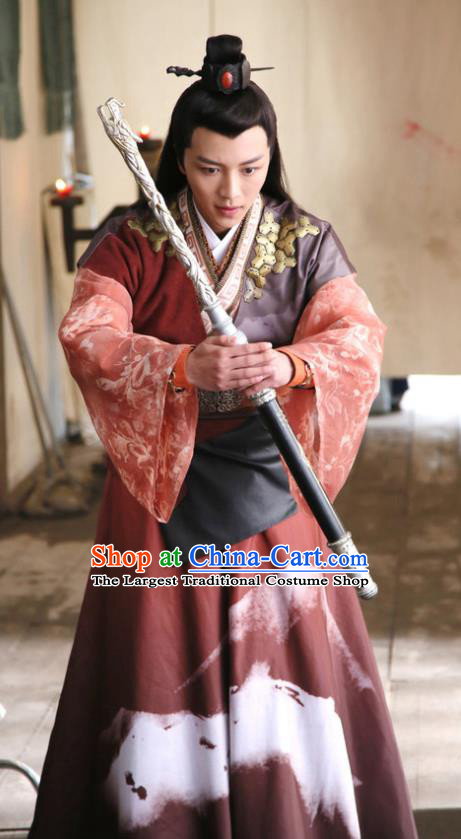 Chinese Ancient Swordsman Garment Costumes and Hairdo Crown Drama Men With Sword Knight Gen Mochi Hanfu Apparels
