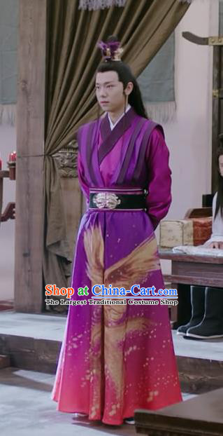 Chinese Ancient Swordsman Purple Garment Hanfu Costumes and Hairdo Crown Drama Men With Sword Knight Gen Mochi Apparels