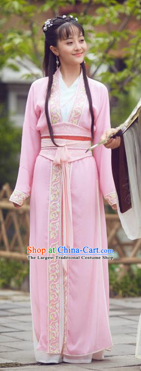 Chinese Ancient Female Apparels Garment Costumes and Hair Accessories Headdress Wuxia Drama Xiya Xia Qin Shuang Pink Dress