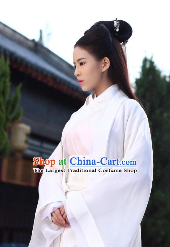 Chinese Ancient Apparels Costumes and Hairpins Drama Legend of the Concubinage Female Swordsman Liu Ruobing White Hanfu Dress Garment