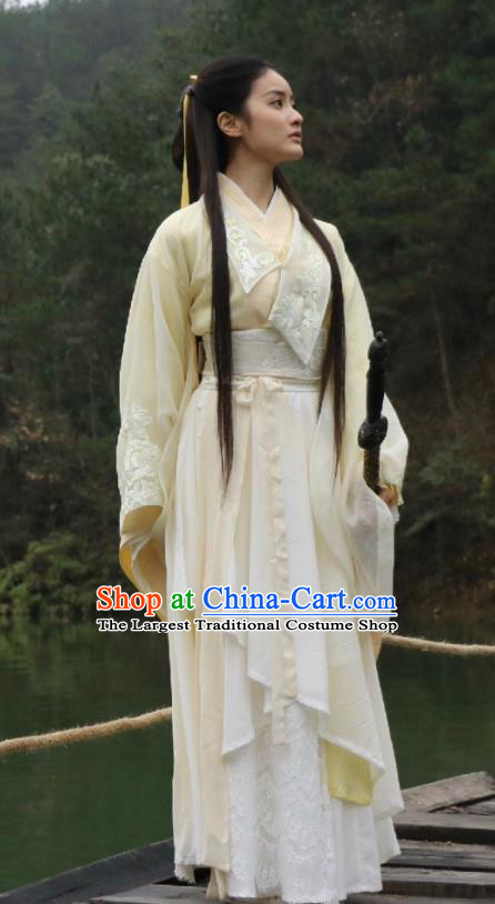 Chinese Ancient Ming Dynasty Garment Beige Dress Costumes and Headpieces Drama Legend of the Concubinage Female Swordsman Liu Ruobing Apparels