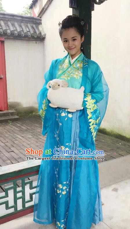Chinese Ancient Garment Ming Dynasty Blue Dress Costumes and Headpieces Drama Legend of the Concubinage Noble Lady Song Qing Apparels