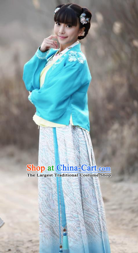 Chinese Ancient Maidservant Garment Ming Dynasty Costumes and Headwear Drama Legend of the Concubinage Hong Ling Dress Apparels