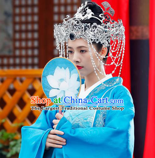 Chinese Ancient Bride Apparels Costumes and Headdress Drama The Starry Night The Starry Sea Noble Lady Lu Li Blue Dress Garment