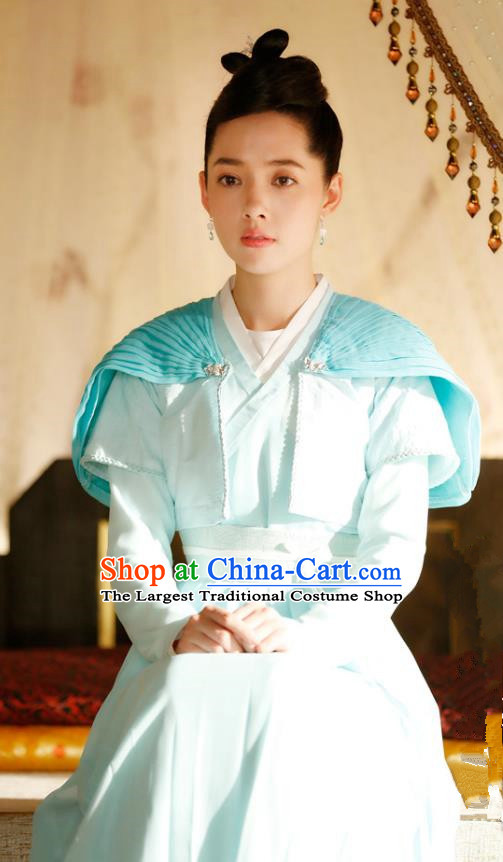Chinese Ancient Female Swordsman Apparels Costumes and Headpiece Drama The Starry Night The Starry Sea Heroine Lu Li Hanfu Dress Garment