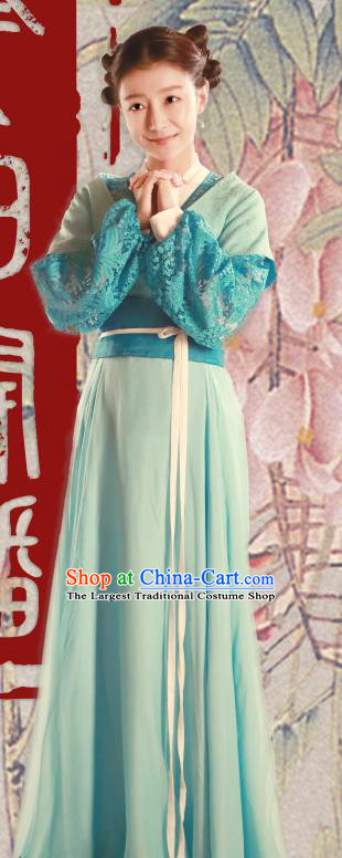 Chinese Ancient Maid Apparels Costumes and Headpiece Drama The Starry Night The Starry Sea Servant Girl Green Hanfu Dress Garment