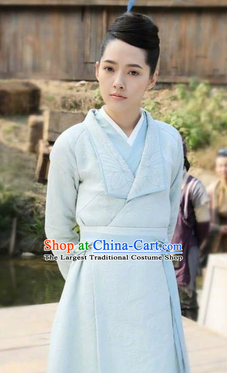 Chinese Ancient Apparels Female Swordsman Costumes and Headpiece Drama The Starry Night The Starry Sea Lu Li Hanfu Dress Garment