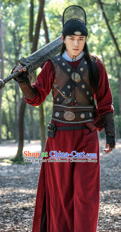 Chinese Ancient Song Dynasty Swordsman Costumes and Hat Drama Kai Feng Qi Tan Official Guard Zhan Zhao Garment Apparels