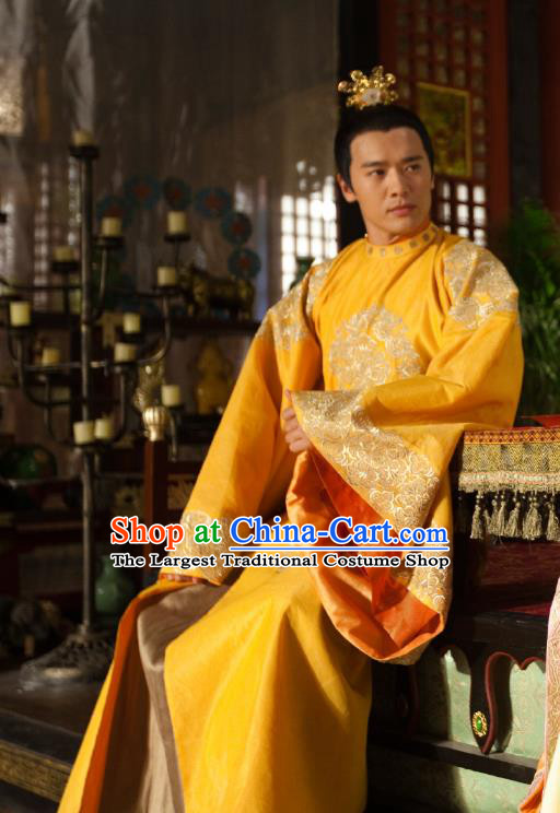 Chinese Ancient Crown Prince Hanfu Clothing and Hairdo Crown Drama The World of Love King Zongzheng Fenglin Golden Costumes Apparels