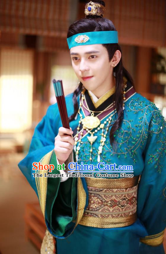 Chinese Ancient Song Dynasty Blue Garment Rich Childe Clothing and Headpieces Drama Kai Feng Qi Tan Merchant Pang Ji Apparels
