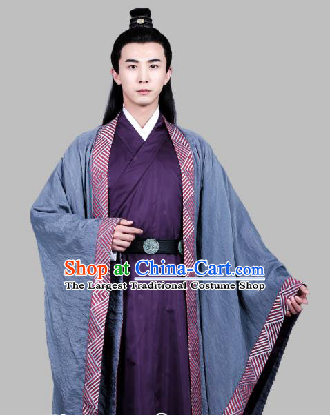 Chinese Ancient Song Dynasty Scholar Apparels Costumes and Hair Accessories Drama Kai Feng Qi Tan Bao Zheng Garment