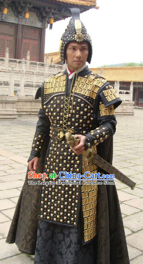 Chinese Ancient General Armor Garment Clothing and Helmet Drama The Empress Yun Shi Apparels