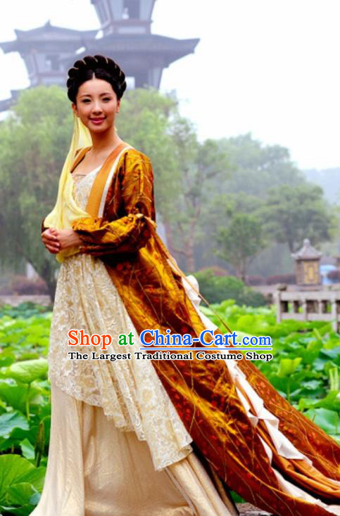 Chinese Ancient Royal Princess Costumes Garment and Headwear Drama The Empress Court Yu Ran Dress Apparels