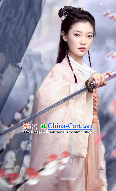Chinese Ancient Swordswoman Pink Costumes Garment and Headwear Drama And The Winner Is Love Female Knight Lin Fengzi Dress Apparels